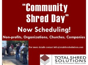 Now Scheduling! Community Shred Day
